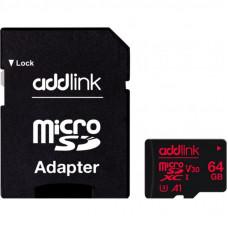Карта памяти AddLink 64GB microSDXC class 10 UHS-I V30 U3 A1 (ad64GBMSXU3A)