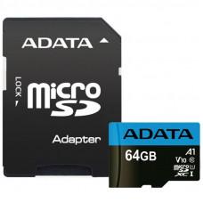 Карта памяти ADATA 64GB microSD class 10 UHS-I A1 Premier (AUSDX64GUICL10A1-RA1)